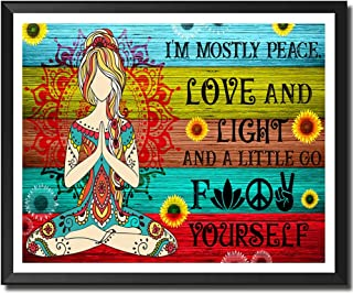 Yoga Hippie Girls Zen Meditation Picture Mandala Buddha Paintings Wall Art Canvas Prints I m Mostly Peace Love and Light S...