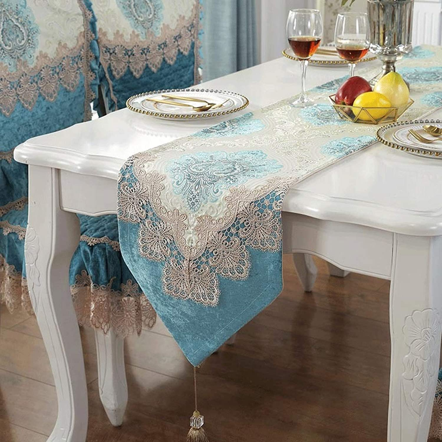 YXN Simple European Table Flag With Tassel Embroidery Design, TV Cabinet Table Table Bunting (Size   33X280CM)