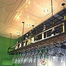 Industrieel Hangend Wijnrek Met Glazen Houder En Plank, Met 1m Ijzeren Ketting, Verstelbare Plafond Zwevende Planken, Ijze...
