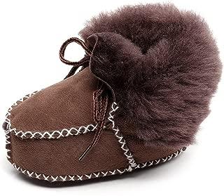 HONGTEYA Sheepskin Fleece Baby Bootie- Infants Warm Fur Wool Girls Baby Plush Boots Leather Boy Shoes