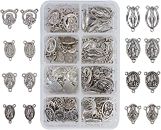 PandaHall Elite About 80 Pcs Tibetan Silver Rosary Miraculous Medal Oval Center Parts Chandelier Virgin Links 8 Styles for Jewelry Making