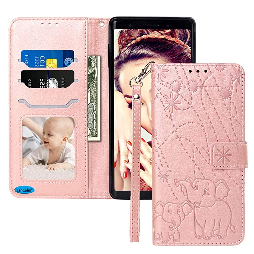 Note 9 Case,Note 9 Wallet Case,for Samsung Galaxy Note 9 Case/Samsung Note 9 Case,Galaxy Note 9 Case,Note 9 Accessories by JanCalm [Card/Cash Slots][Wrist Strap] Flip Cases (Rose Gold)
