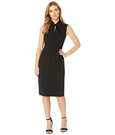 Donna Morgan Sleeveless Crepe Dress with Tie Knot Front (Black) Women
