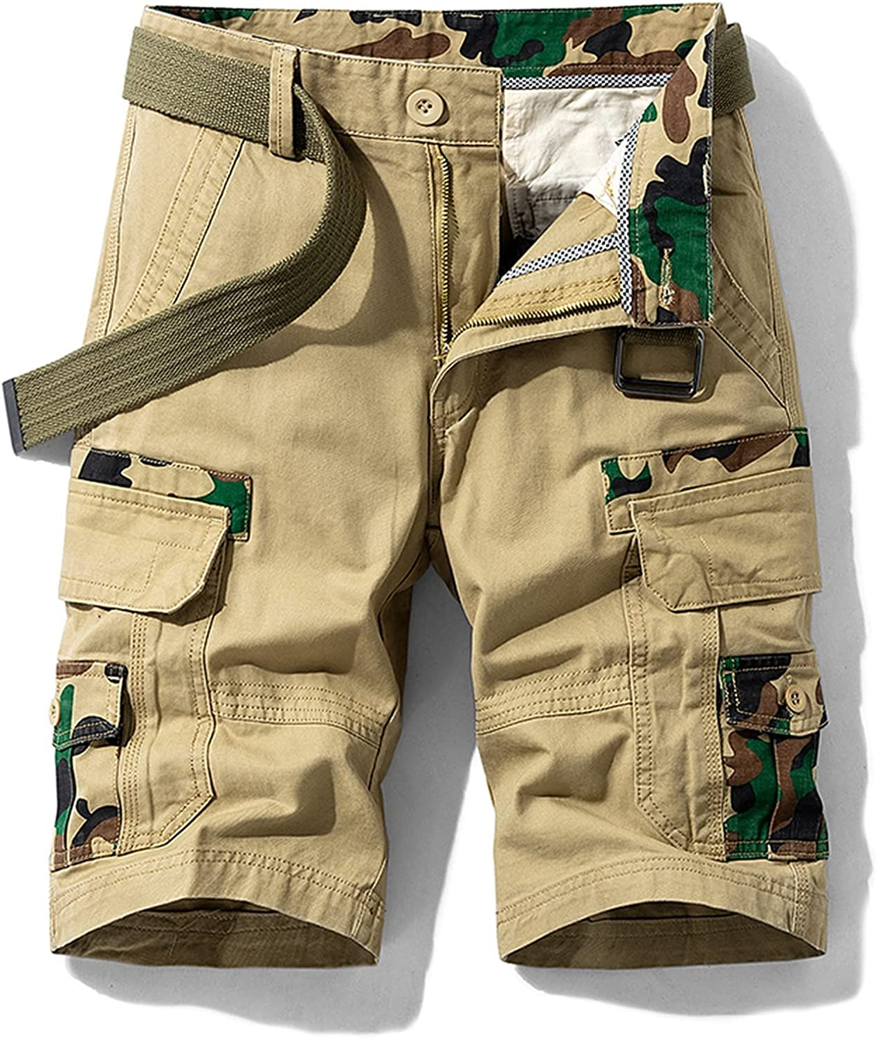 Sukyy Summer Camouflage Cargo Shorts Men Army Green Jogger Tactical Military Cotton Casual Loose