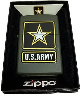 Zippo Custom Lighter - Green U.S. Army Black Star Primary Logo - Regular Green Matte