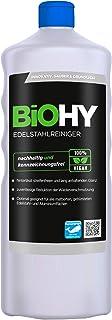 BiOHY Edelstahlreiniger 1l Flasche | Edelstahlpflege für neuen, streifenfreien Glanz | Schutz gegen Fingerabdrücke, Schmierflecken etc. | schonend und nachhaltig