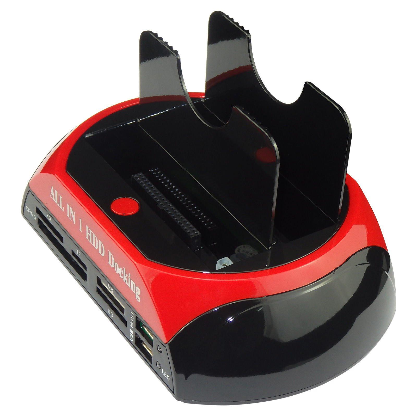 SATKIT Base Dock Doble para Discos Duros HDD IDE/SATA 2, 5 3, 5 A USB 2. 0 Caja Externa HUB Lector Tarjetas: Amazon.es: Electrónica