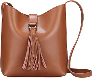 Women Small Cowhide Leather Shoulder Bag Crossbody Bag Ladies Bucket Tote