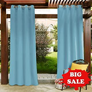Pony Dance Patio Garden Outdoor Curtain Panel Home Decoration Fade Resistant Grommet Top Blackout Curtains Drapes Heavy-Duty Water Repellent 52 x 95 in Turquoise Set of 1