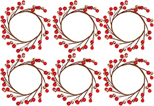 6 Pcs Creative Candle Holder Wreath Christmas Party Desktop Candle Wreath Rings for Christmas Party