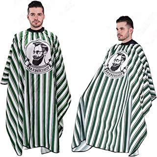 Sponsored Ad - Hairdressing Gown Barber Shawl-Green Stripe Full Length Shawl Waterproof Neutral Professional Barber/Hairdr...