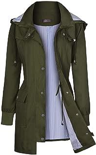 Rain Jacket Women's Waterproof Raincoats Windbreaker Lightweight Outdoor Hooded Trench Coats S-XXL