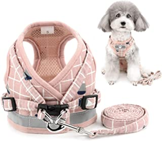 ZUNEA No Pull Small Dog Harness and Lead Set Adjustable Reflective Step-in Chihuahua Vest Harnesses Mesh Padded Plaid Esca...