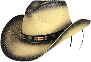 Classic Outback Tea Stained Cowboy Hat w/ Beaded Band - Shapeable Brim