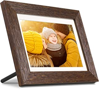 """Aluratek 8"""" WiFi Distressed Wood Smart Digital Photo Frame with Touchscreen Display and 16GB Built-in Memory (ASHDPF08F)"""