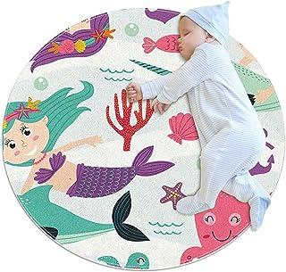 Soft Round Area Rug 70x70cm/27.6x27.6IN Anti-Slip Floor Circle Mats Absorbent Memory Sponge Standing Mat,Mermaid Whale Fish