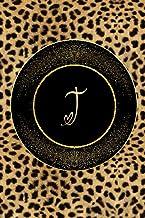 Letter T Notebook : Initial T Monogram Notebook Journal Leopard Print Notebook Gold Border Composition Book: Leopard Print...