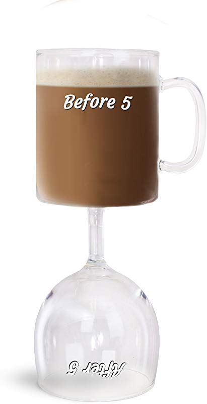 BigMouth Inc Before After 5 Coffee Wine Glass Reversable Cup Funny Novelty Dual Wine Glass And Coffee Cup
