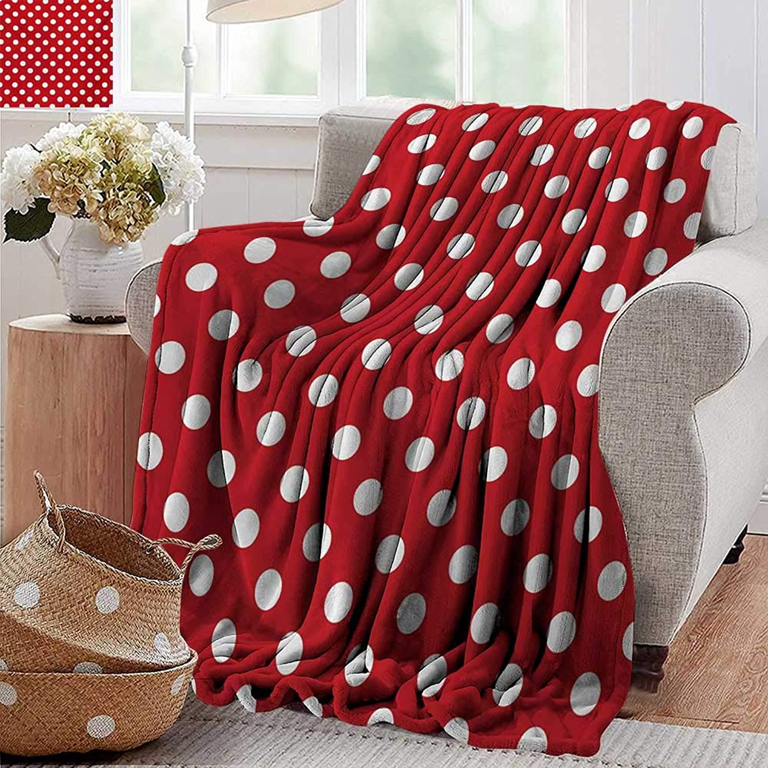 PearlRolan Picnic Blanket,Retro,Vintage Polka Dots with Big White Circular Round Forms Nostalgic Girlish Kitsch Art Design,Red,colorful   Home, Couch, Outdoor, Travel Use 50 x60