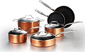 COOKSMARK 10 Piece Cookware Set with Nonstick Coating, Induction Pots and Pans set Dishwasher Safe Aluminum Hammering Copper