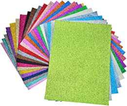 Faux Leather Glitter Canvas Sheets- 24 Pieces Assorted Colors A4 Size(8 X 12 Inch)Shiny Glitter Fabric Sheets for Bows, Earrings, Hair Accessories Making(24 Colors, Each Color One Sheet)