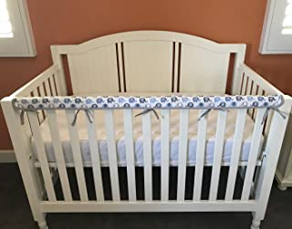 Effe Bebe Reversible Crib Rail Cover - Breathable 200 Count Cotton on face, 100% Cotton Velour Backing, 1PC/Set, Narrow Long Blue Grey