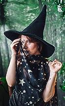 Pañuelo Negro Estampado estrellas y lunas Bruja Chal de gasa vegana