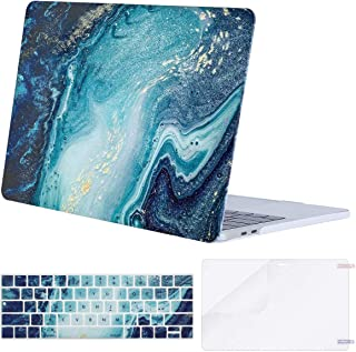 MOSISO MacBook Pro 13 inch Case 2019 2018 2017 2016 Release A2159 A1989 A1706 A1708, Plastic Pattern Hard Shell & Keyboard Cover & Screen Protector Compatible with MacBook Pro 13, Creative Wave Marble