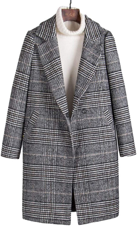 DFUCF Women's Plaid Woolen Coat Winter Pea Coat Loose Jacket Fashion Overcoat