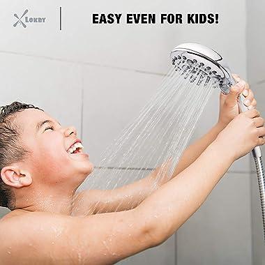 "High-Pressure Handheld Shower Head 6-Setting - 5"" Handheld Rain Shower with Hose - Powerful Shower Spray Even with Low Wa"