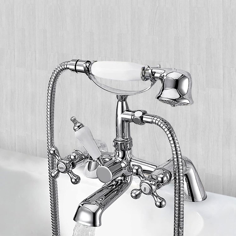 Warmiehomy Victorian Traditional Bathroom Shower Taps Filler Mixer Tap Handheld Faucet Chrome Brass