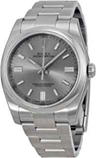 Oyster Perpetual Rhodium Dial Stainless Steel Mens Watch 116000RSO