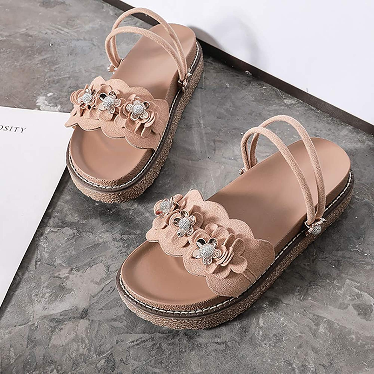 Sandals for Women, Platform Sandals Gladiator Sandals for Women Flower Straps Two Kinds of Summer shoes Black Pink