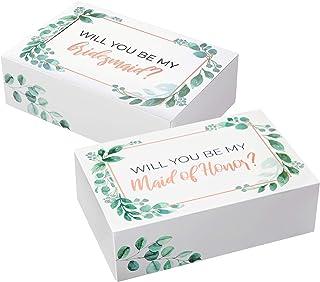 مجموعة صندوق اقتراح لإشبينة العروس I 6 حزمات I 1 Maid of Honor Proposal Box و5 Will You be My Bridesmaid boxes I Greenery ...