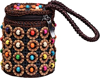 Prettyia Multicolor Beads Woven Wood Wristlet Mini Cylinder Handbag Jewelry Pouch