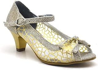 Taşlı Fiyonklu Altın Rengi Topuklu Kız Çocuk Abiye Ayakkabı
