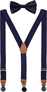 CEAJOO Men Boys Suspenders and Bow Tie تنظیم با کلیپ های فلزی گرد
