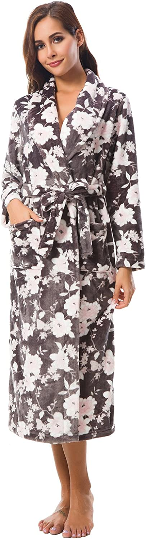 Alcea pinka Women's Bathrobe Print Robe Kimono Bathrobe Shawl Collar Plush Long Robe for Women