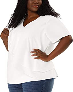 Agnes Orinda Plus Size Tops for Women V Neck Layered Short Sleeve Ruffle Blouse