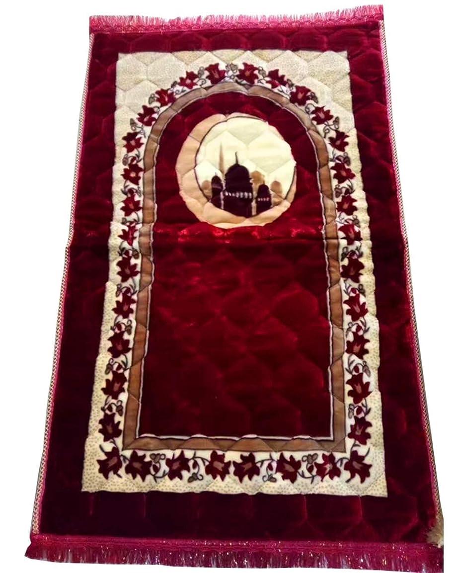 衣服豊富なヒットShj イスラム教徒のトルコイスラムの祈りカーペットラマダンイードムバラクギフト大人サイズ furniture (Color : 120CM*80CM Red)