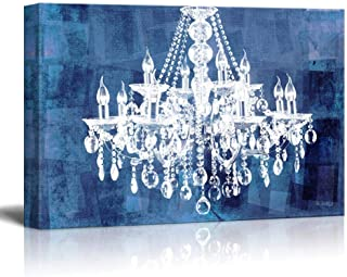 SIMIGREE Canvas Wll Art - Crystal White Chandelier on Grunge Blue Background - Giclee Print and Stretched Stretched and Fr...