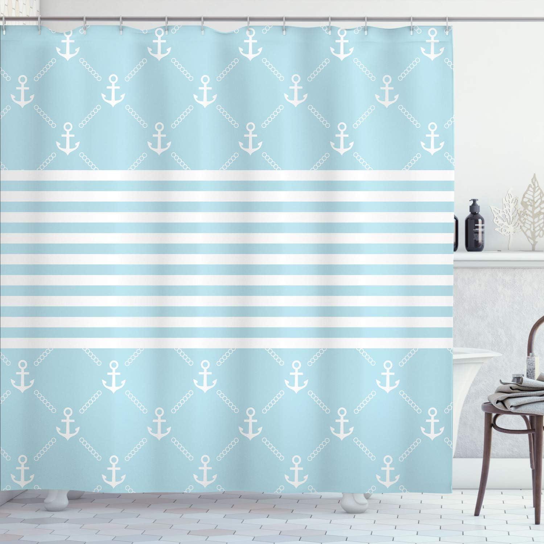 Lunarable Nautical Shower Curtain Pattern Classical 保証 An 市販