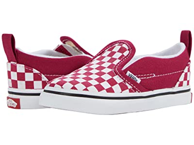 Vans Kids Slip-On V (Infant/Toddler) ((Checkerboard) Cerise/True White) Girls Shoes