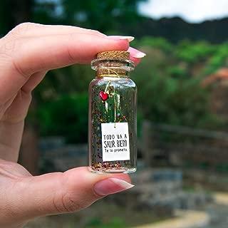 Todo va a salir bien. Te lo prometo. Mensaje en una botella. Miniaturas. Regalo personalizado. Divertida postal de motivación