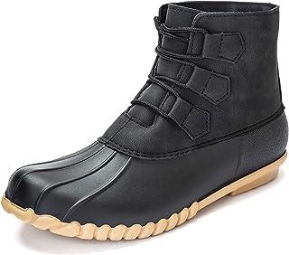 DKSUKO Women's Duck Boots Lace Up Waterproof Ankle Rain...