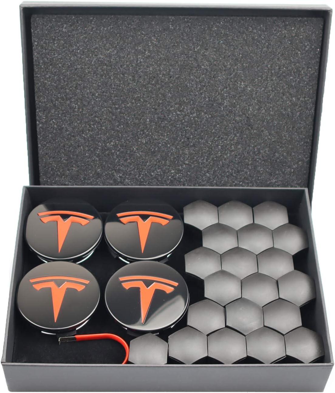 无 Wheel Cap Hub Caps kit for Tesla Model 3 Center Hub Cap with Logo fit and 20 Wheel Lug Nut Cover Red