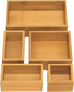 Seville Classics 5-Piece Bamboo Storage Box Set, 18x10