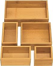 Seville Classics 5-Piece Bamboo Storage Box Set, 18x10