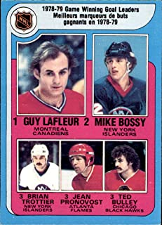 1979-80 O-Pee-Chee #7 Leaders Guy Lafleur CANADIENS Mike Bossy ISLANDERS Brian Trottier ISLANDERS Jean Pronovost FLAMES Ted Bulley BLACKHAWKS (Nrmt-Mint) Vintage NHL Hockey Card (Box214Stu)