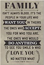Royal Decor Collection Family Isn't Always Blood - It's The People in Your Life Who Want You Canvas Wall Art Family Quotes 8x12